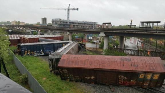 A CSX train derailed in Washington early Sunday.