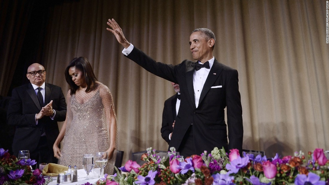 "President Barack Obama waves to the audience after speaking at the <a href=""http://www.cnn.com/2016/04/30/politics/white-house-correspondents-dinner-2016-obama-donald-trump/index.html"" target=""_blank"">White House Correspondents' Association annual dinner</a> on Saturday, April 30, at the Washington Hilton hotel. This is President Obama's eighth and final White House Correspondents' Association dinner."
