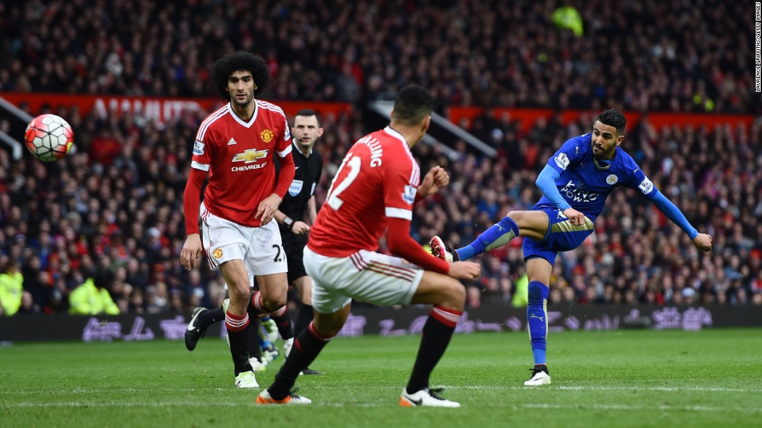Leicester City winger Riyad Mahrez takes a shot during the Manchester United match. Last month, Mahrez was named player of the year by his peers in the Professional Footballers' Association. He has 17 goals and 11 assists in 34 Premier League matches.