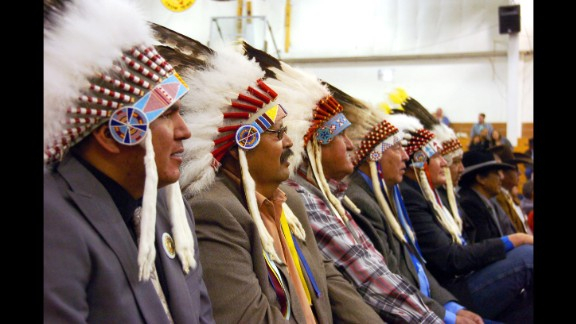 """Mourners in full headdress attend the funeral of <a href=""""http://www.nytimes.com/2016/04/05/us/joseph-medicine-crow-tribal-war-chief-and-historian-dies-at-102.html"""" target=""""_blank"""" target=""""_blank"""">Joe Medicine Crow,</a> a historian, U.S. veteran and the Crow Tribe's last surviving war chief, on Wednesday, April 6. He was 102 years old."""