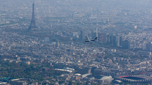 A B-52 bomber flies over Paris on Wednesday, April 20, as it takes part in an aerial parade that honored the 100th anniversary of the Lafayette Escadrille. The Lafayette Escadrille was largely made up of American pilots who volunteered to fight for France before the United States entered World War I.