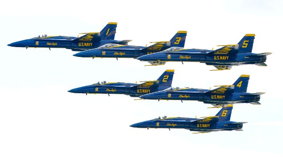 The U.S. Navy's Blue Angels fly in formation during a demonstration in Fort Worth, Texas, on Sunday, April 24. The squadron is scheduled to perform 66 demonstrations in 34 U.S. locations this year.