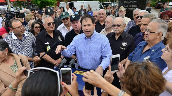 U.S. Sen. Marco Rubio speaks at a Miami event honoring veterans on Sunday, April 17, the 55th anniversary of the Bay of Pigs invasion.