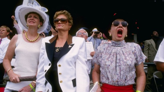 """""""The style in the infield is relaxed, with women wearing cool sundresses, cotton skirts, or more frequently shorts,"""" said the Derby website of 1990s styles."""