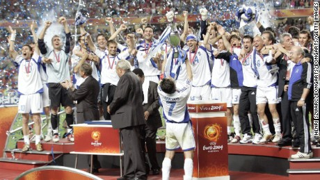 The Greece national team improbably won Euro 2004 with a final victory over Portugal.