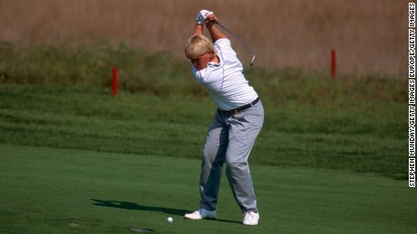 John Daly plays a shot during the PGA Championship in 1991.