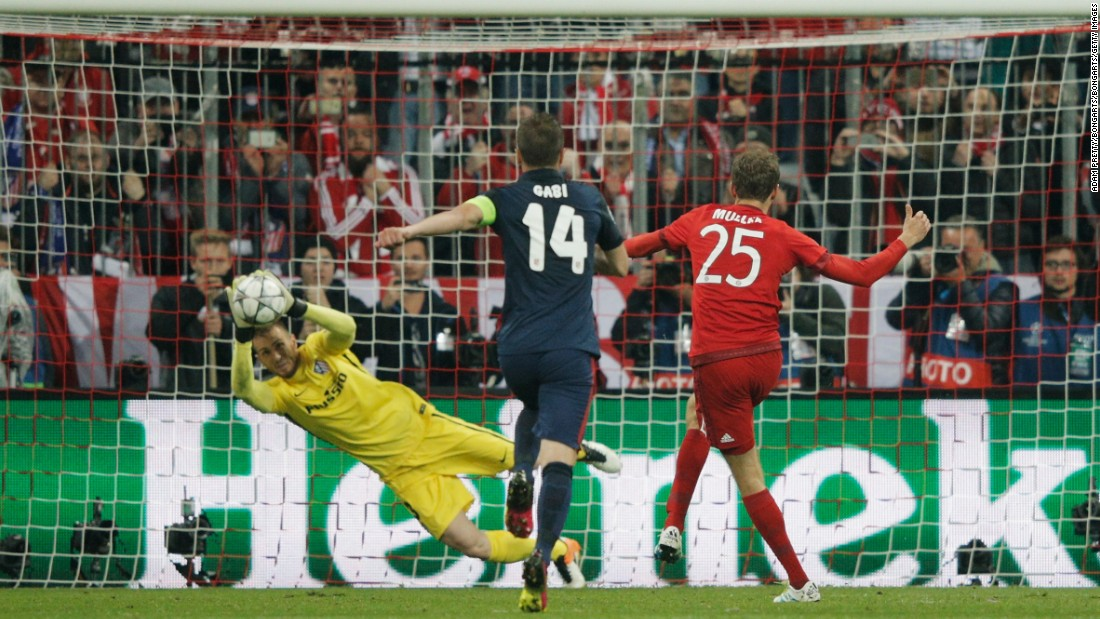 Bayern was dominating and a foul by Jose Gimenez on Javi Martinez led to the home side being awarded a penalty. Muller took the penalty but his effort was turned away brilliantly by Oblak.