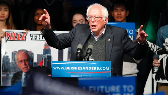 LOUISVILLE, KY - MAY 3: Democratic presidential candidate Bernie Sanders addresses the crowd during a campaign rally at the Big Four Lawn park May 3, 2016 in Louisville, Kentucky. Sanders is preparing for Kentucky