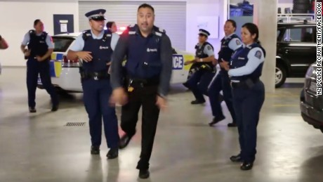 New Zealand police officers work it in a viral clip responding to the #runningmanchallenge.