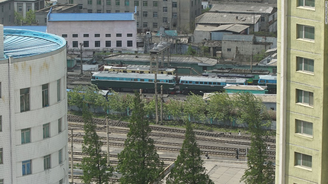 A train can be seen from the window of the Koryo Hotel in Pyongyang.