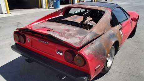Hutchison says he was horrified when he brought the Ferrari 308 home from the junk yard.