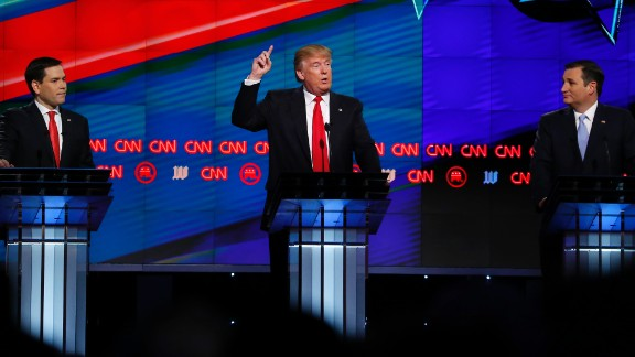Trump -- flanked by US Sens. Marco Rubio, left, and Ted Cruz -- speaks during a CNN debate in March 2016. Trump dominated the GOP primaries and emerged as the presumptive nominee in May of that year.