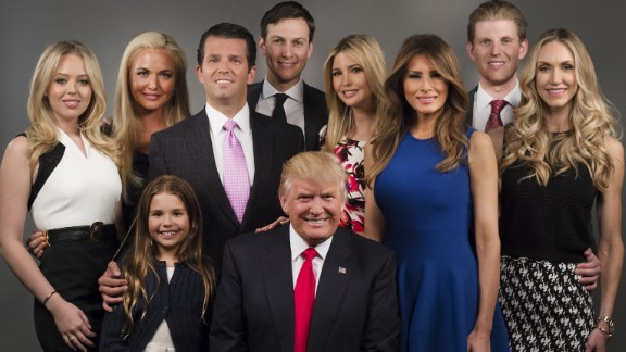The Trump family in New York in April 2016.