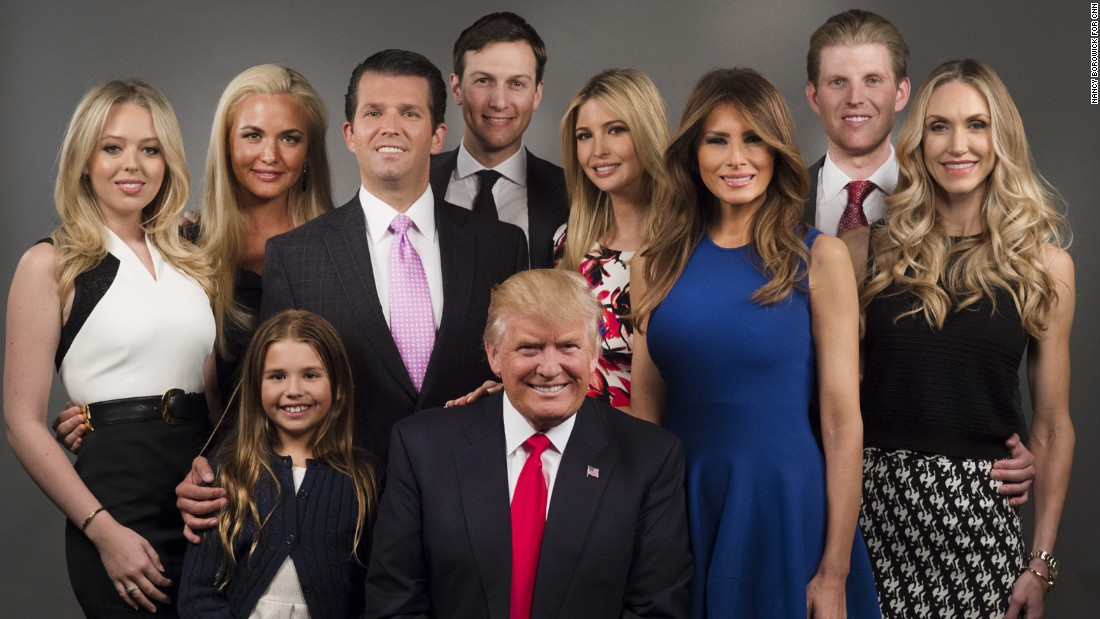 The Trump family poses for a photo in New York in April.