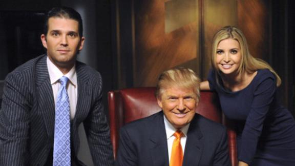 "Trump appears on the set of ""The Celebrity Apprentice"" with two of his children -- Donald Jr. and Ivanka -- in 2009."