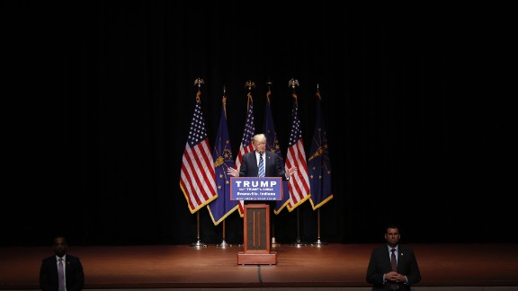 Trump speaks during a campaign event in Evansville, Indiana, in April 2016. After Trump won the Indiana primary, his last two competitors dropped out of the GOP race.