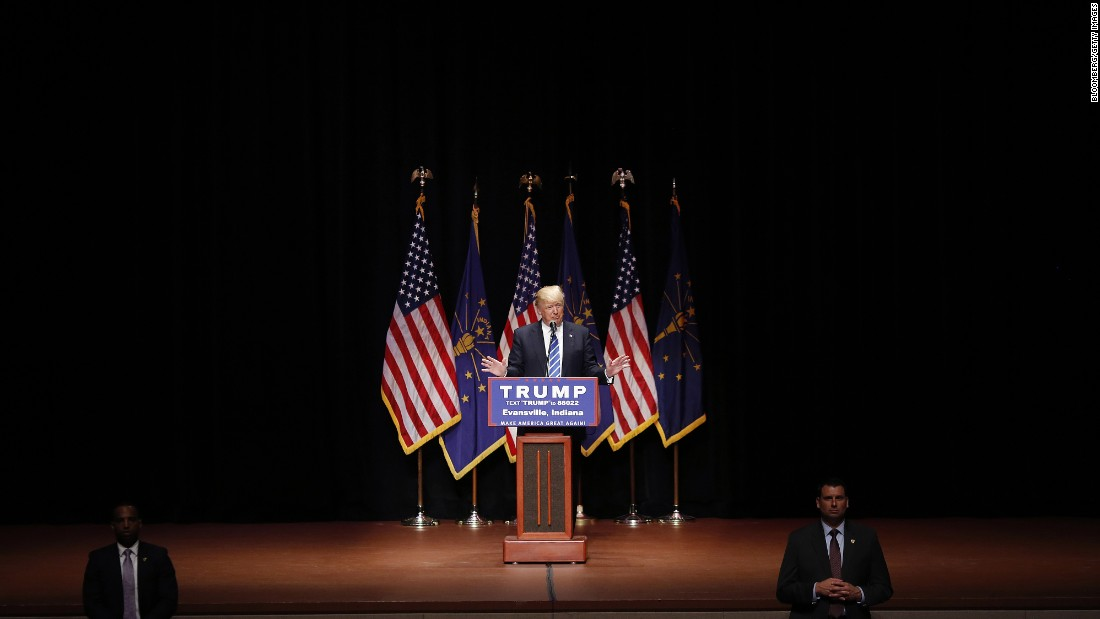 Trump speaks during a campaign event in Evansville, Indiana, on April 28. After Trump won the Indiana primary, his last two competitors dropped out of the GOP race.