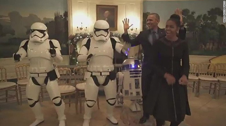 Obamas get down on 'Star Wars' day