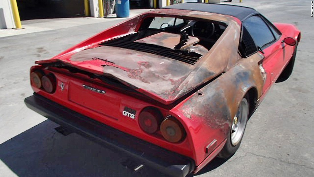 "The car met a fiery end on a California highway according to it's restorer Eric Hutchison who says the car, if not regularly serviced, was prone to the fuel hose bursting. Hutchison picked up the wreck in a San Diego scrap yard for $10,000.<a href=""http://edition.cnn.com/2016/05/05/motorsport/ferrari-308-electric-world-first/index.html""><strong> </a></strong>"