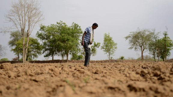 A farmer stands in his field in the village of Bangaye on April 27.