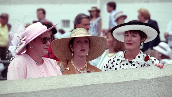 """""""In the 1990s, the dress at the Derby continued to replace the suit, especially with younger women,"""" added the Derby website. """"While gloves have become out of fashion, a hat never is, and the hats tend to get wilder and more expensive as the years go on."""""""