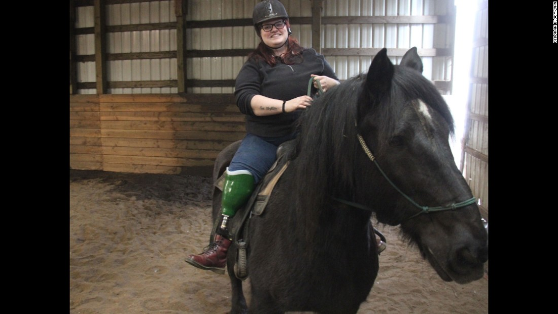 February was Emily Fuggetta's first time on horseback since losing her leg and her horse, Sammy, in a tragic accident six months before.