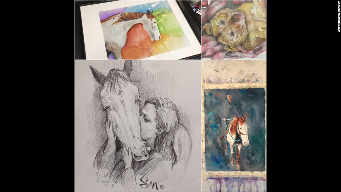 "Friends drew and painted tributes to Sammy and Tina. ""I think posting about my animals every day on Facebook made other people feel like they knew them too,"" Emily said."