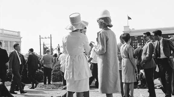 """In the 1960s, hemlines were on the rise. Meanwhile, on the other side of the globe at Australia's Melbourne Cup, model Jean Shrimpton was causing a stir in a miniskirt that """"stopped the nation.""""  """"By the time you get to the 1960s wearing hats was no longer typical,"""" said Goodlet. """"But the Derby keeps this tradition -- even when other social occasions don't."""""""