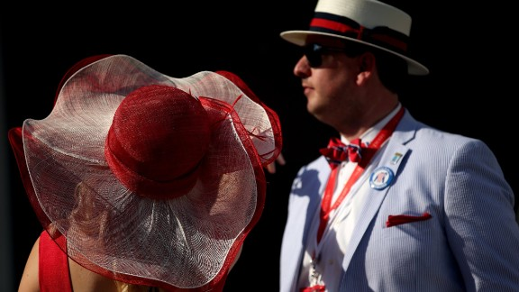"""Nicknamed the """"Run for the Roses"""" due to the blanket of roses draped on the winning jockey, the Derby has long inspired red accessories among race-goers."""