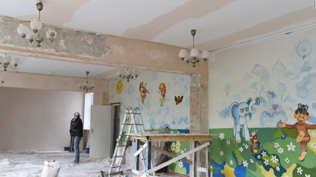 Refurbishing work takes place at Kindergarten 'Veselka' In Svitlodarsk, eastern Ukraine. The school was heavily damaged by shelling at the beginning of 2015.