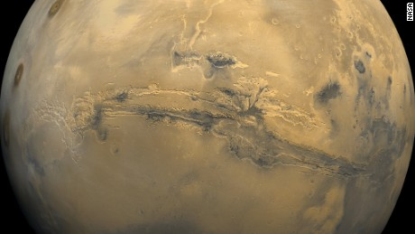 Valles Marineris, or Mariner Valley, cuts across Mars in this mosaic of images taken by Viking 1 in 1980.