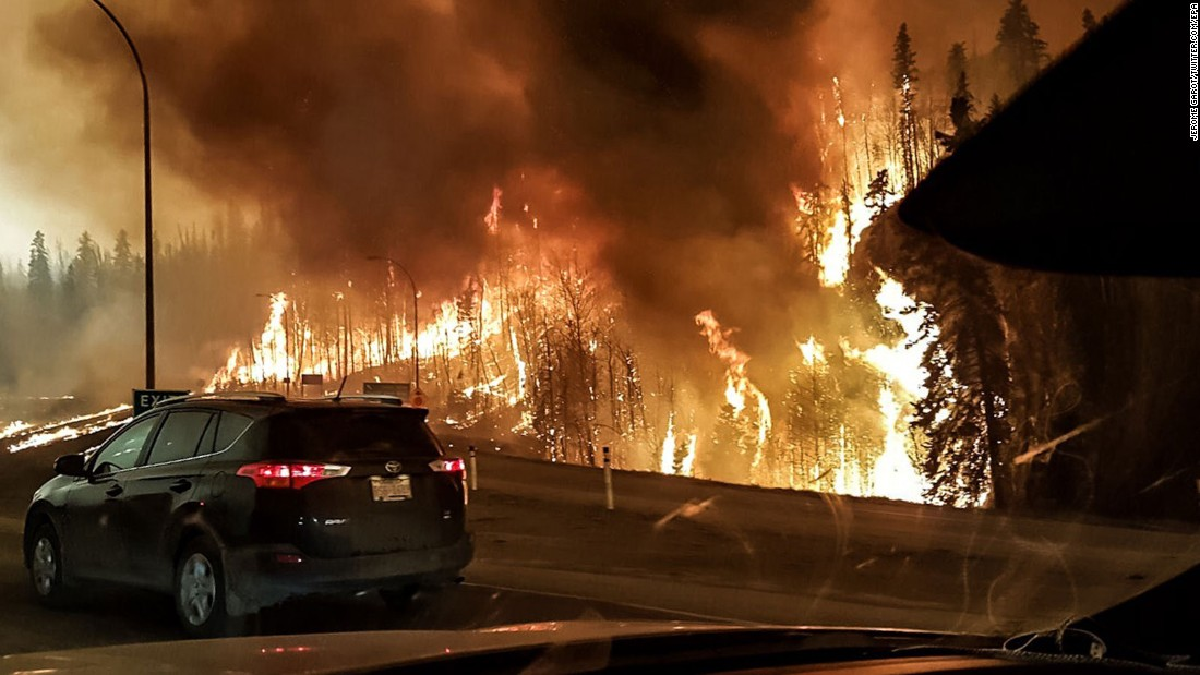 The wildfire rages through Fort McMurray on Tuesday, May 3.