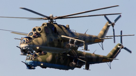 Mil Mi-24 Hind large helicopter gunships during a military parade rehearsal, May 7, 2015, Russia.