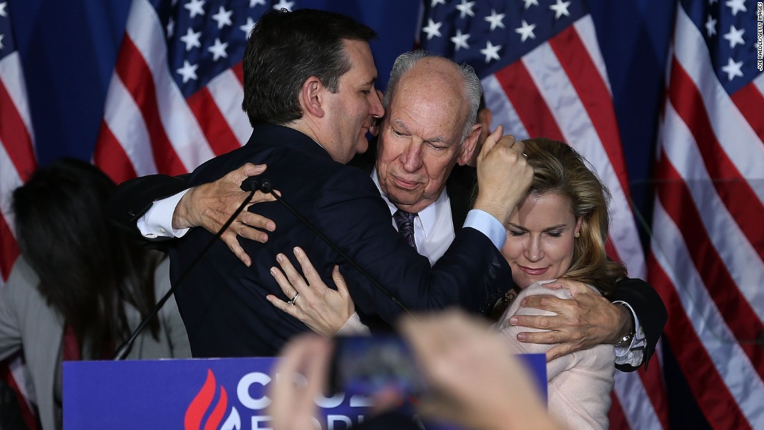 "U.S. Sen. Ted Cruz hugs his father and his wife Tuesday, May 3, after announcing that <a href=""http://www.cnn.com/2016/05/03/politics/ted-cruz-drops-out/"" target=""_blank"">he would be suspending his presidential campaign.</a> Cruz had just lost another Republican primary to front-runner Donald Trump."