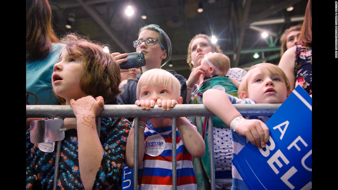 "Children wait for U.S. Sen. Bernie Sanders to speak at a campaign rally in Evansville, Indiana, on Monday, May 2. Sanders <a href=""http://www.cnn.com/2016/05/03/politics/indiana-primary-highlights/"" target=""_blank"">won Indiana's Democratic primary</a> the next day."