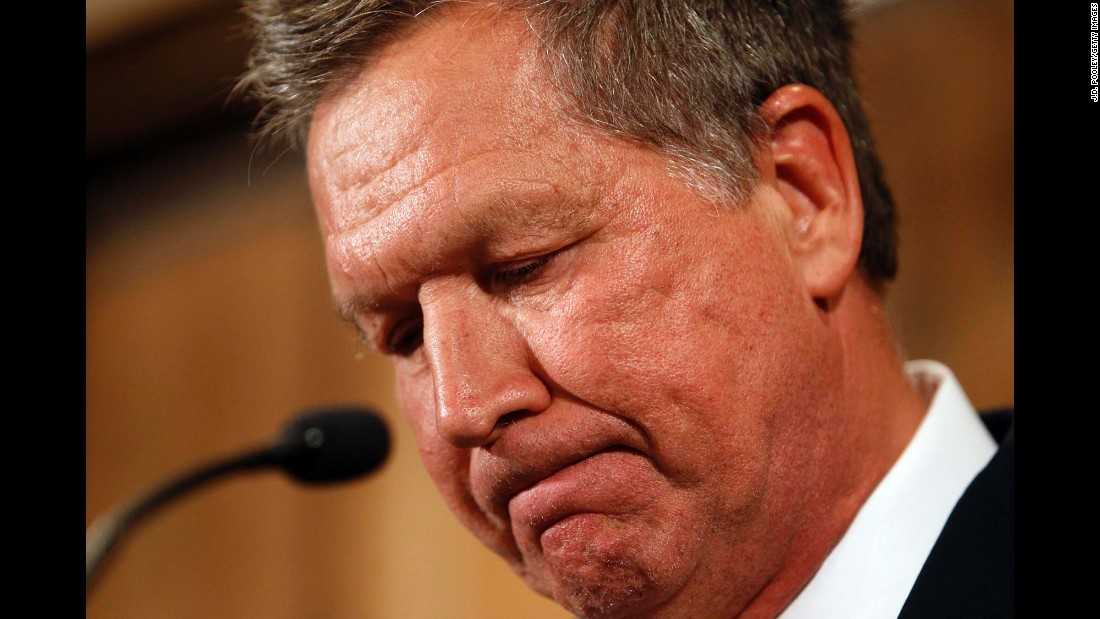 "Ohio Gov. John Kasich speaks to the media in Columbus, Ohio, after announcing that <a href=""http://www.cnn.com/2016/05/04/politics/john-kasich-drops-out/index.html"" target=""_blank"">he would be suspending his presidential campaign</a> on Wednesday, May 4. That left Donald Trump as the presumptive GOP nominee."