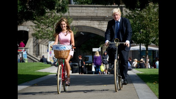 Johnson and model Kelly Brook launch a cycling festival in London on August 25, 2011.