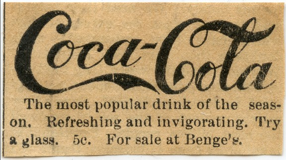 "1890: One of Coca-Cola's earliest print ads included the slogan ""refreshing and invigorating"" as well as the original price for a glass: 5 cents. That price did not change until 1959, the company said."