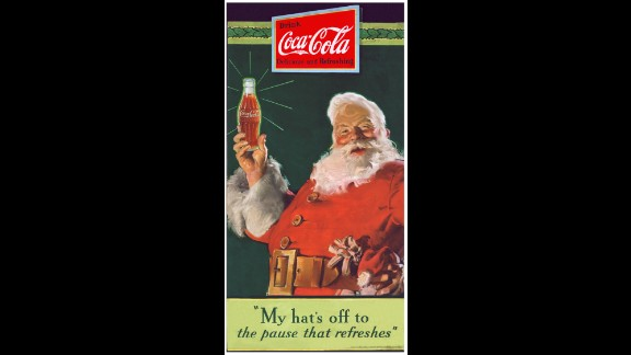 1931: Coca-Cola puts an image of Santa Claus on an ad that debuted in the Saturday Evening Post and appeared regularly in magazines. It was painted by Haddon Sundblom, who continued to paint a new Santa for Coke every year until 1964.