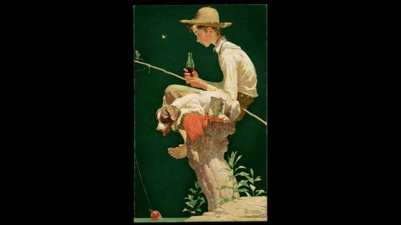 "1935: Between 1928 and 1935, artist Norman Rockwell painted six different illustrations that were used in Coca-Cola ads. The 1935 calendar featured ""Out Fishin,"" which depicted a young boy fishing on a tree stump."