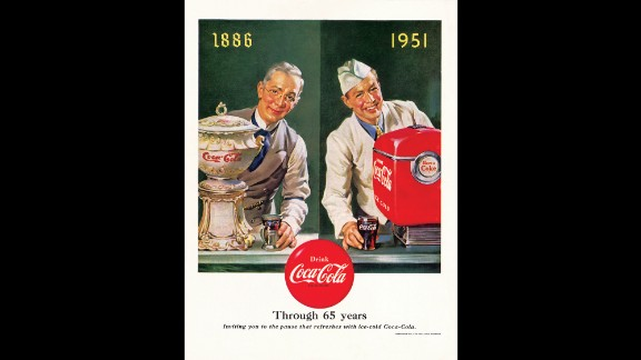 1951: This ad was released in celebration of Coca-Cola's 65th anniversary.