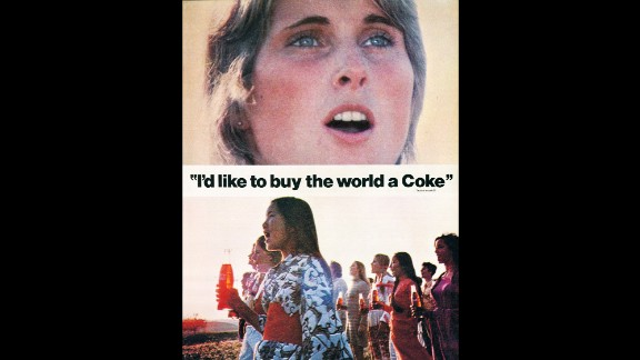 "1971: Perhaps the most famous Coca-Cola ad of all time, ""Hilltop,"" debuted in 1971. The television commercial features an international group of people singing ""I'd Like to Buy the World a Coke."""