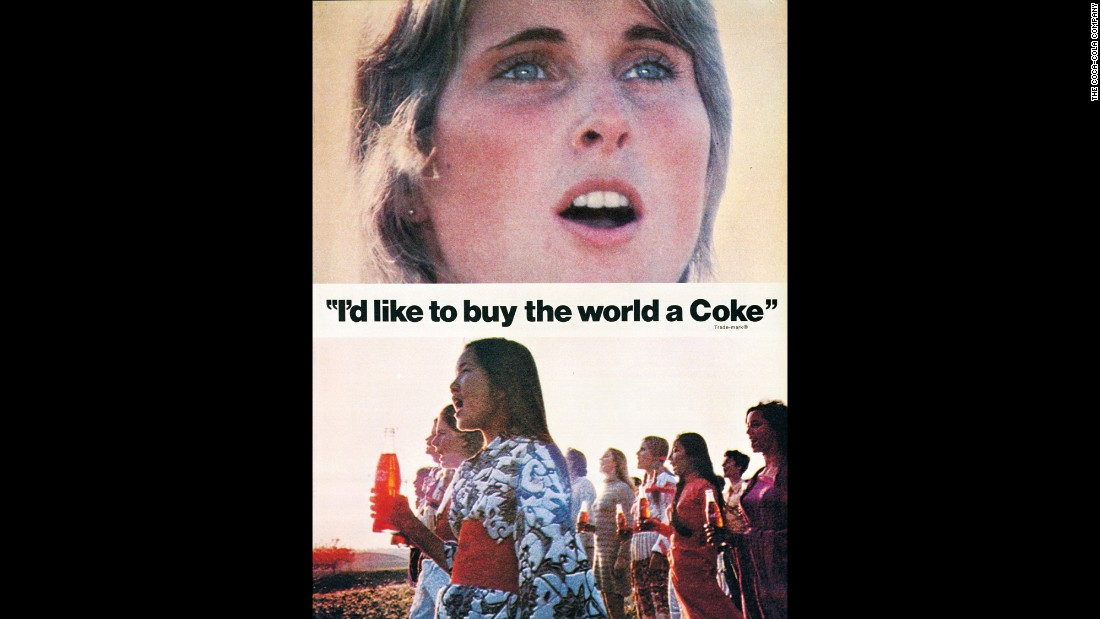 "<strong>1971:</strong> Perhaps the most famous Coca-Cola ad of all time, ""Hilltop,"" debuted in 1971. The <a href=""https://www.youtube.com/watch?v=1VM2eLhvsSM"" target=""_blank"">television commercial</a> features an international group of people singing ""I'd Like to Buy the World a Coke."""