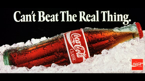 "1991: One of the most famous Coca-Cola advertising slogans, ""Can't Beat the Real Thing,"" ran in various ads until 1993."