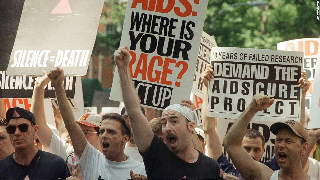 Members of the AIDS Coalition to Unleash Power (ACT-UP) held an unsanctioned march up New York's Fifth Avenue in 1994 for the 25th anniversary of the Stonewall riots.