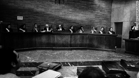 Anti-Mafia judges sit in a courtroom in Sicily in 1981.