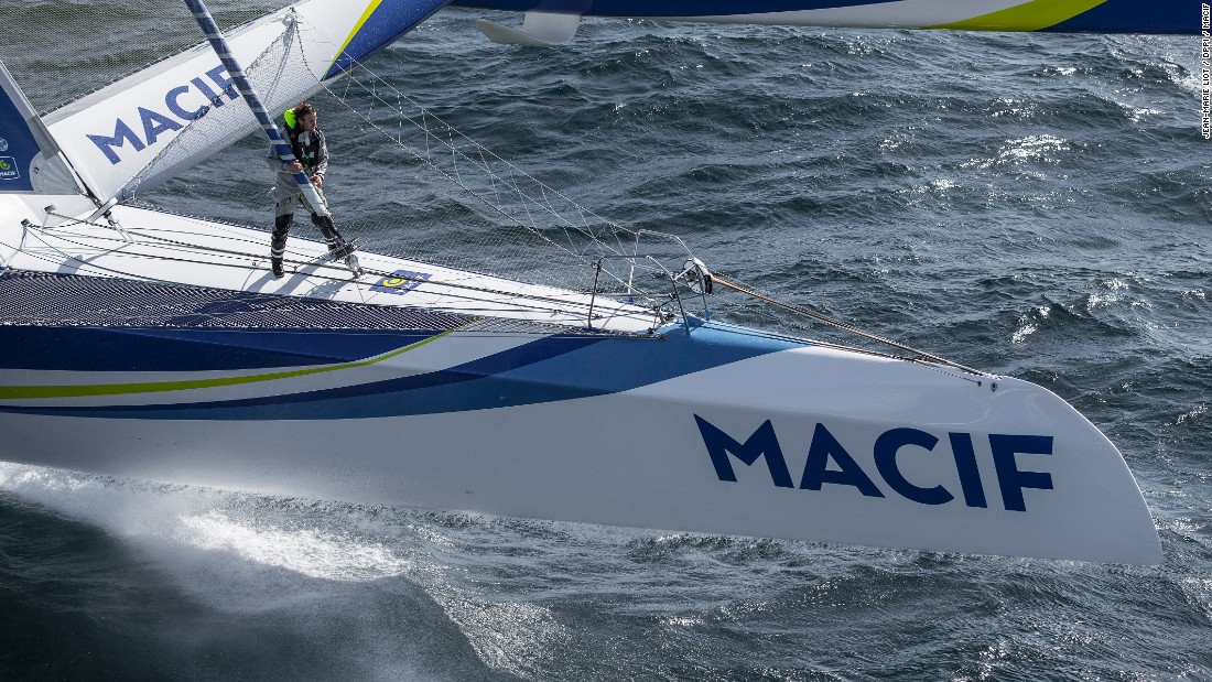 The 33-year-old is racing the boat in the Plymouth to New York Transat bakerly in an attempt to break the solo around the world record.