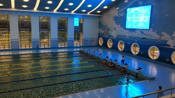 "An Olympic-sized swimming pool is a focal point of a ""children's palace"" after-school center in Pyongyang."