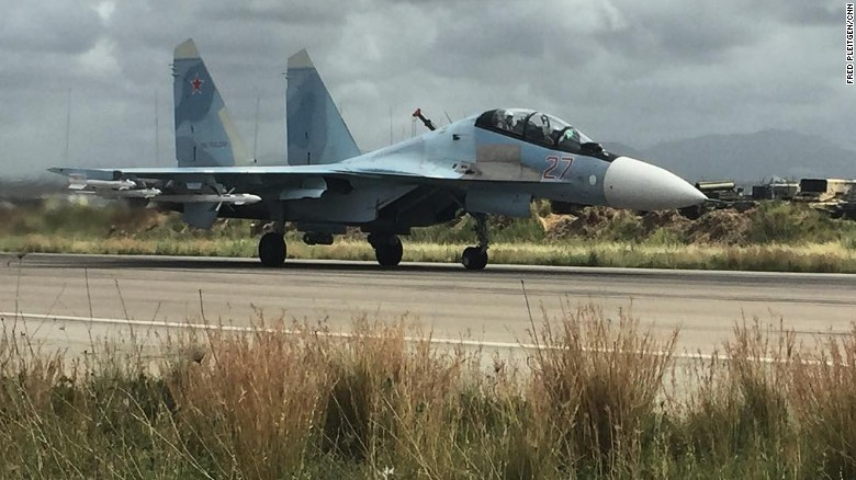 A Russian SU-35 takes off from the Hmeimim base in northern Syria.