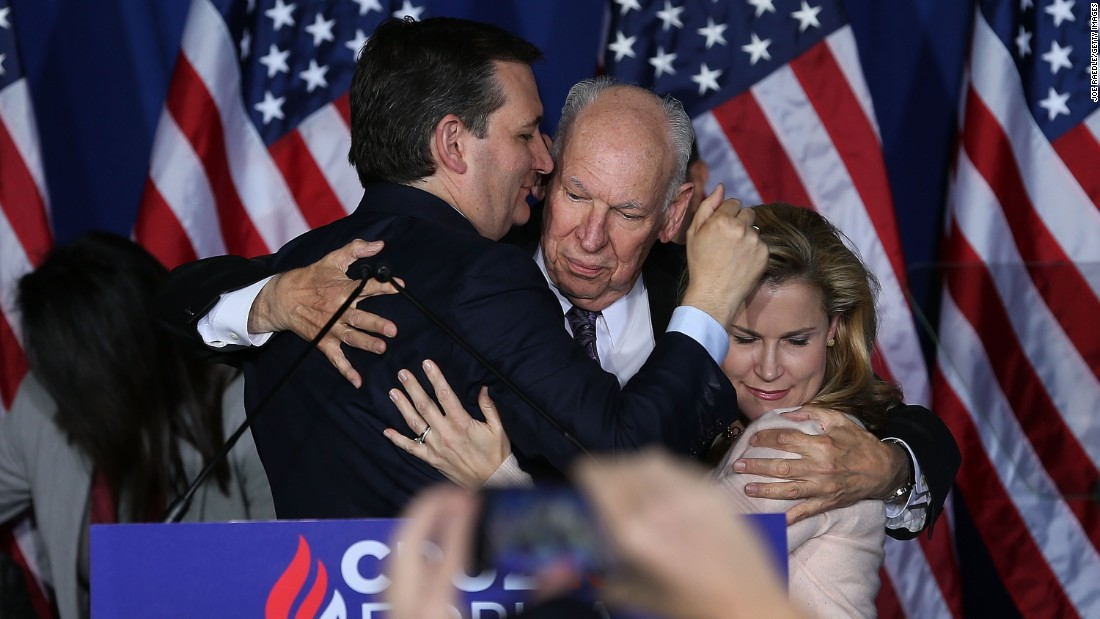 "U.S. Sen. Ted Cruz hugs his father and his wife Tuesday, May 3, after announcing that <a href=""http://www.cnn.com/2016/05/03/politics/ted-cruz-drops-out/"" target=""_blank"">he would be suspending his presidential campaign.</a> Cruz had just lost the Indiana primary to front-runner Donald Trump."